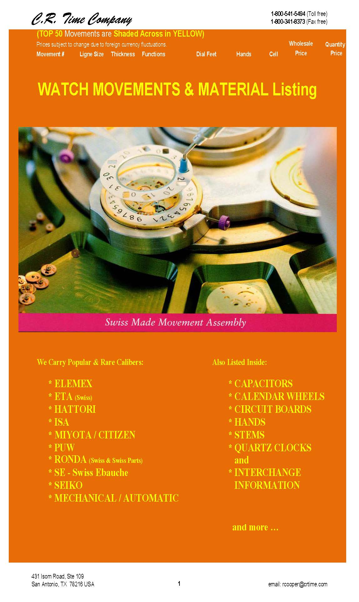 Watch Movement Catalog
