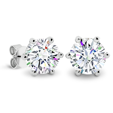 MOISSANITE, 14K EARRING 8.0mm