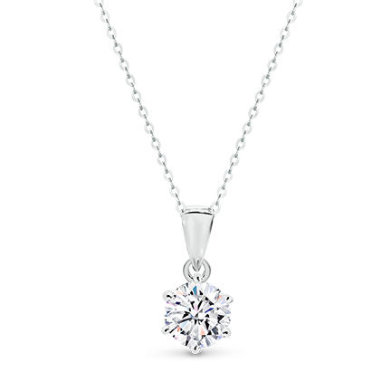 MOISSANITE, 14K PENDANT 5.0mm