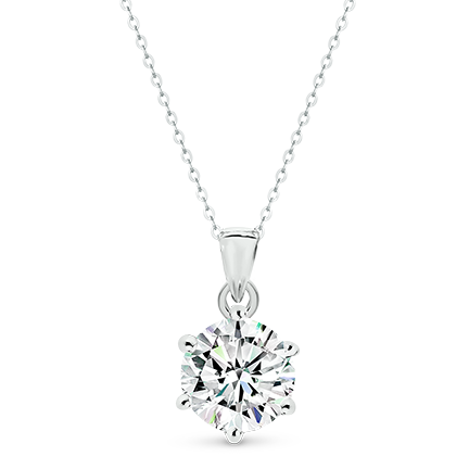 MOISSANITE, 14K PENDANT 9.5mm
